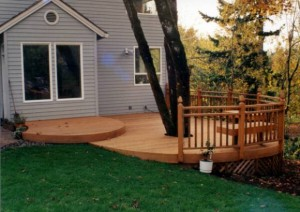 deck with tree